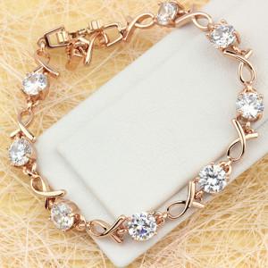 Лаконичный браслет «Мираж» с круглыми камнями и высококлассным золотым покрытием фото. Купить