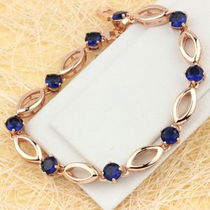 Сдержанный браслет «Денди» с синими цирконами и отличным золотым покрытием купить. Цена 350 грн или 1095 руб.