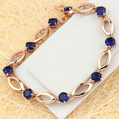 Сдержанный браслет «Денди» с синими цирконами и отличным золотым покрытием купить. Цена 350 грн