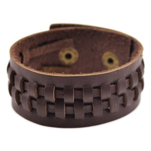 Однотонный браслет из натуральной кожи шоколадного цвета с кнопочной застёжкой фото. Купить