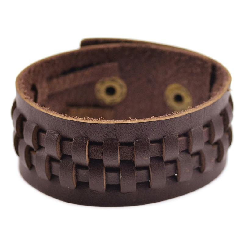 Однотонный браслет из натуральной кожи шоколадного цвета с кнопочной застёжкой купить. Цена 145 грн