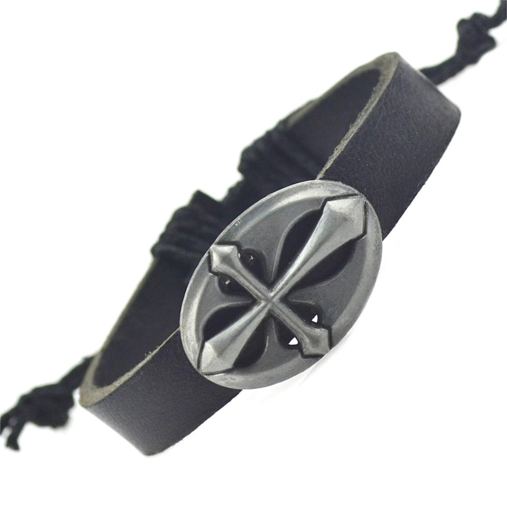 Кельтский браслет из чёрной кожи с металлическим щитом с изображением креста купить. Цена 89 грн