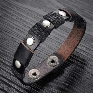 Лаконичный узкий браслет из тонкой кожи чёрного цвета с застёжкой-кнопкой купить. Цена 155 грн или 485 руб.