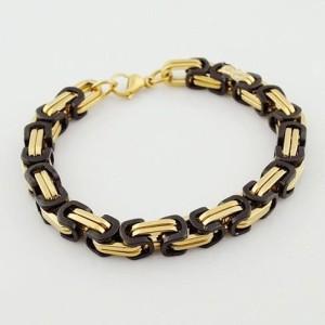 Брутальный браслет «LUXURY» из нержавеющей стали чёрно-золотого цвета фото. Купить