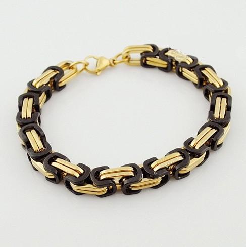 Брутальный браслет «LUXURY» из нержавеющей стали чёрно-золотого цвета купить. Цена 270 грн
