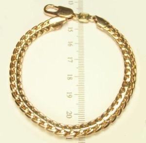 Толстый браслет крупного декоративного плетения с высококачественной позолотой фото. Купить