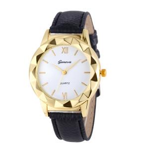 Симпатичные часы «Geneva» с рельефным корпусом жёлтого цвета и чёрным ремешком фото. Купить