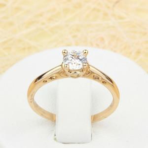 Скромное кольцо «Аврора» с одним прозрачным камнем и золотым напылением купить. Цена 125 грн