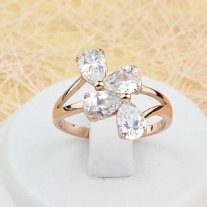 Выразительное кольцо «Эмоция» с четырьмя овальными камнями и настоящей позолотой купить. Цена 175 грн