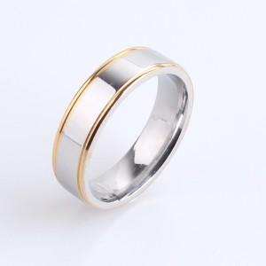 Симпатичное кольцо «Gedeon» из нержавеющей стали серебряного цвета с золотистой каймой фото. Купить