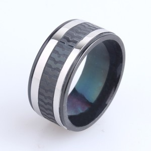 Крутое кольцо «Gedeon» из медицинской стали чёрного цвета с серебряными полосами купить. Цена 185 грн
