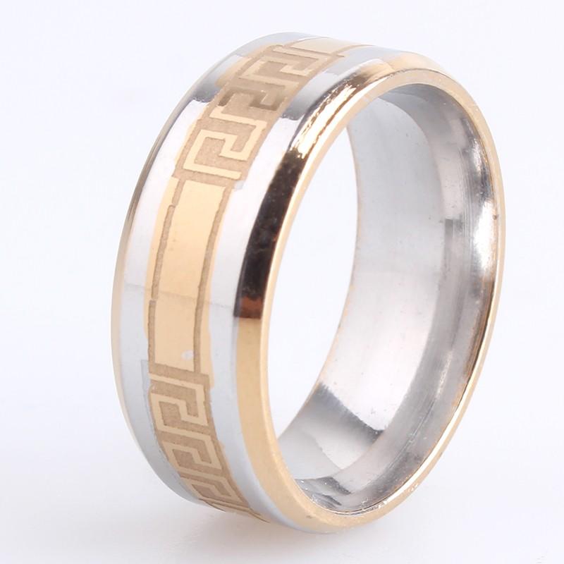 Гладкое двухцветное кольцо «Gedeon» из медицинской стали с греческим орнаментом купить. Цена 165 грн