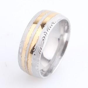 Необыкновенное кольцо «Gedeon» матового цвета с абстрактным узором и золотыми полосами купить. Цена 165 грн