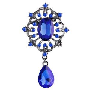 Крупная брошь «Графиня» в винтажном стиле с синими камнями и небольшими стразами фото. Купить