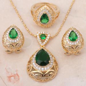 Тройной набор «Борнео» с изумрудными фианитами и покрытием из настоящего золота купить. Цена 650 грн