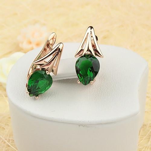 Классные серьги «Тюльпаны» с зелёным камнем в форме капли и отличной позолотой купить. Цена 235 грн