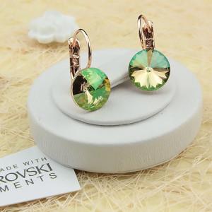 Невероятные серьги «Гелиодоры» с круглыми кристаллами Сваровски и отличной позолотой фото. Купить