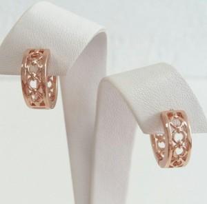 Отличные серьги «Вереница» без камней и вставок с золотым напылением фото. Купить