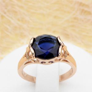 Чарующее кольцо «Встреча» с круглым синим фианитом и высококачественным золотым напылением купить. Цена 185 грн