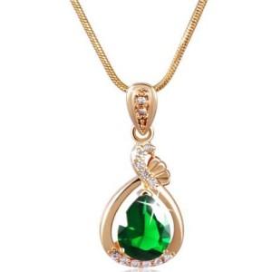 Бесподобная подвеска «Орфей» с изящным кулоном с зелёным камнем на позолоченной цепочке купить. Цена 235 грн