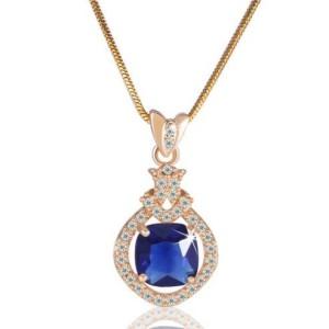 Романтичная подвеска «Водевиль» с синим камнем в кулоне с 18-ти каратным золотым напылением купить. Цена 265 грн