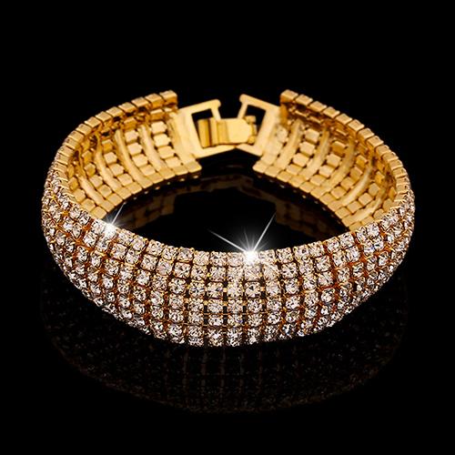 Праздничный браслет «Невеста» в виде ленты из блестящих страз в жёлтом металле купить. Цена 155 грн