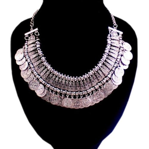 Восточное ожерелье «Фатима» с пластинами и монетками из серебристого металла купить. Цена 265 грн