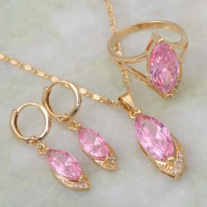 Пленительный набор «Ассоль» из трёх предметов с розовым цирконом и золотым покрытием фото. Купить