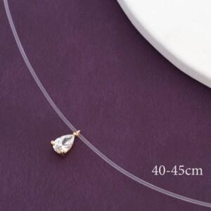 Романтичная подвеска «Слезинка» с маленьким кристаллом на короткой леске фото. Купить