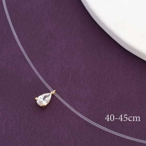 Романтичная подвеска «Слезинка» с маленьким кристаллом на короткой леске купить. Цена 145 грн