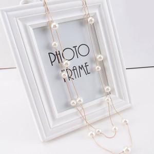 Тонкая подвеска «Перегрина» в виде двойной золотистой цепочки с крупными белыми жемчужинами купить. Цена 155 грн