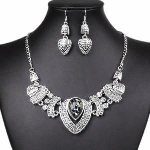Серебристый набор «Маджара» в индийском стиле с длинными серьгами и ожерельем фото. Купить
