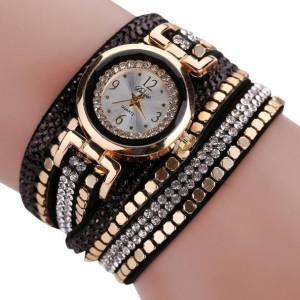 Великолепные часы «Duoya» с красивым циферблатом и длинным чёрным ремешком со стразами фото. Купить