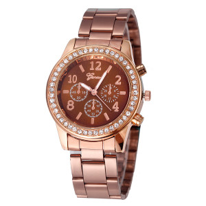 Медно-коричневые часы «Geneva» с металлическим браслетом и стразами на корпусе купить. Цена 250 грн