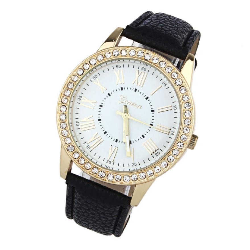Традиционные часы «Geneva» с крупным циферблатом с римскими цифрами и стразами купить. Цена 245 грн