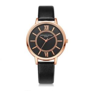 Строгие часы «Lupai» в классическом стиле с чёрным циферблатом и узким ремешком фото. Купить
