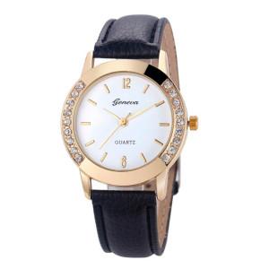 Обыкновенные женские часы «Geneva» небольшого размера с белым циферблатом и чёрным ремешком купить. Цена 199 грн