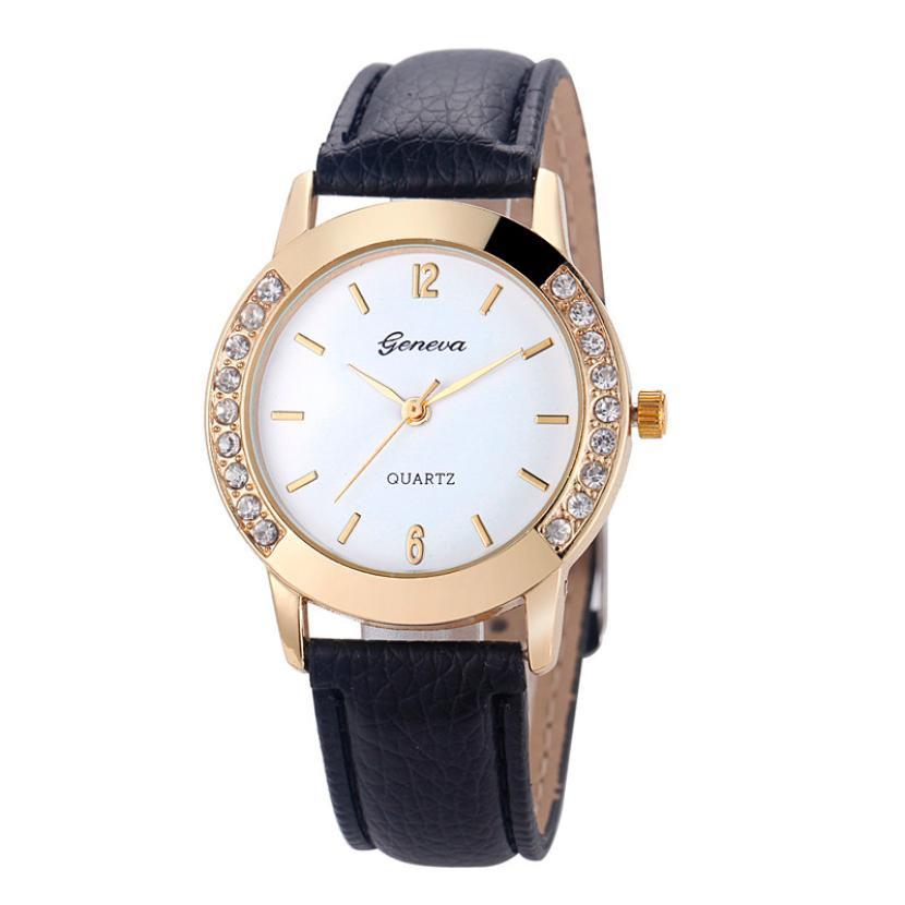 Обыкновенные женские часы «Geneva» небольшого размера с белым циферблатом и чёрным ремешком купить. Цена 235 грн