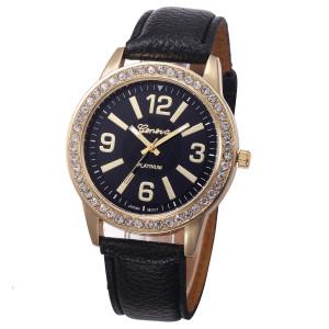 Аккуратные женские часы «Geneva» с чёрным циферблатом, стразами и мягким ремешком купить. Цена 225 грн
