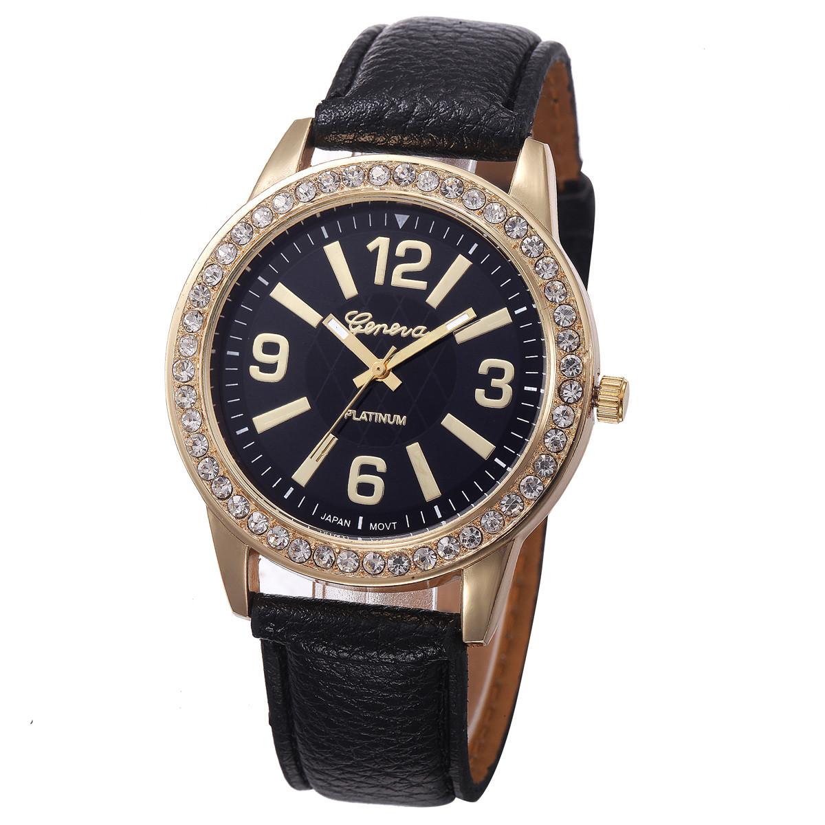 Аккуратные женские часы «Geneva» с чёрным циферблатом, стразами и мягким ремешком купить. Цена 265 грн