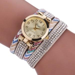 Яркие женские часы «Duoya» на длинном белом ремешке с цветным узором и стразами фото. Купить