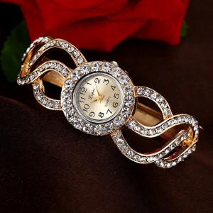 Экстравагантные женские часы «Lupai» в виде металлического браслета со стразами купить. Цена 280 грн