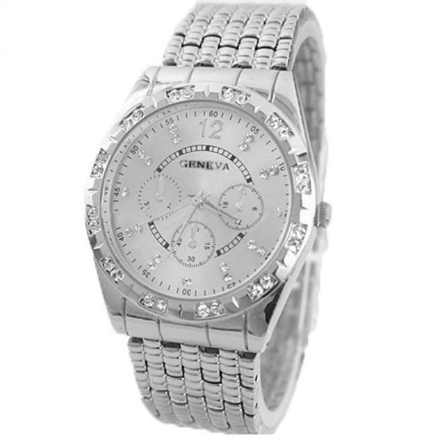 Шикарные часы «Geneva» серебряного цвета с красивым металлическим браслетом купить. Цена 445 грн
