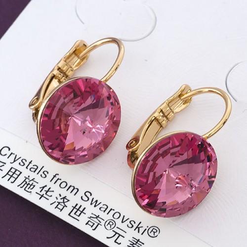 Круглые серьги «Гортензия» с тёмно-розовым камнем Swarovski от Xuping купить. Цена 275 грн