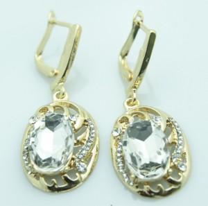Отличные серьги «Аврелия» с овальным бесцветным камнем в металле золотого цвета купить. Цена 150 грн