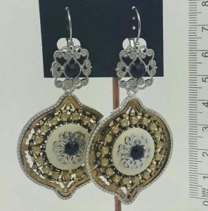 Массивные серьги «Османские» в восточном стиле с камнями и вставками в белом металле купить. Цена 110 грн