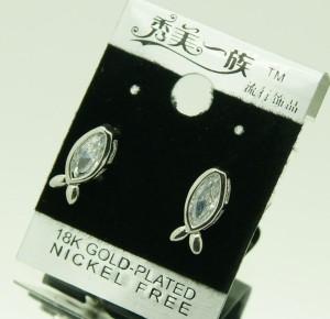Маленькие серьги «Рыбки» с покрытием из родия и прозрачным цирконом купить. Цена 79 грн