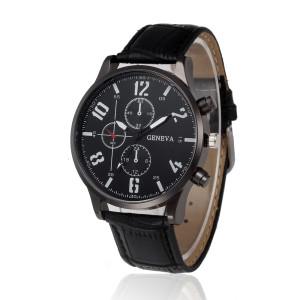 Недорогие мужские часы «Geneva» чёрного цвета с крупными белыми цифрами и чёрным ремешком купить. Цена 225 грн