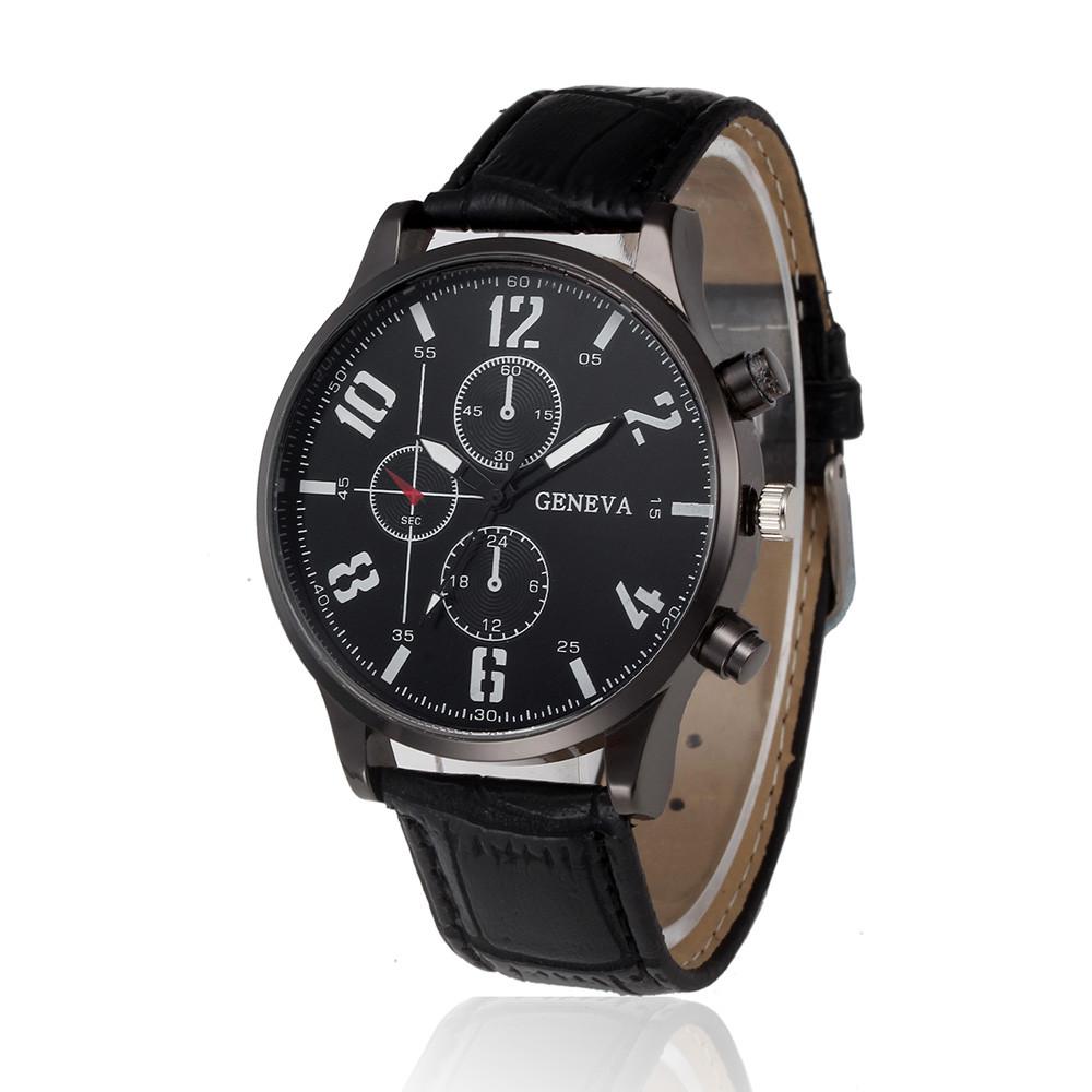 Недорогие мужские часы «Geneva» чёрного цвета с крупными белыми цифрами и чёрным ремешком купить. Цена 245 грн