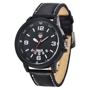 Кварцевые часы «XINEW» чёрного цвета в стиле милитари с календарём и чёрным ремешком купить. Цена 335 грн